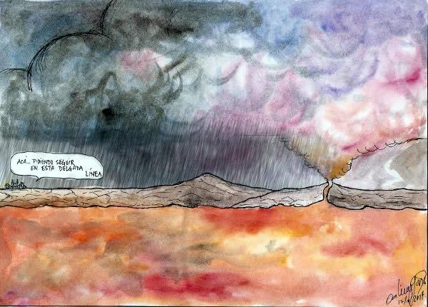 Acá, pidiendo seguir en esta delgada línea - Caricatura - 20/10/14