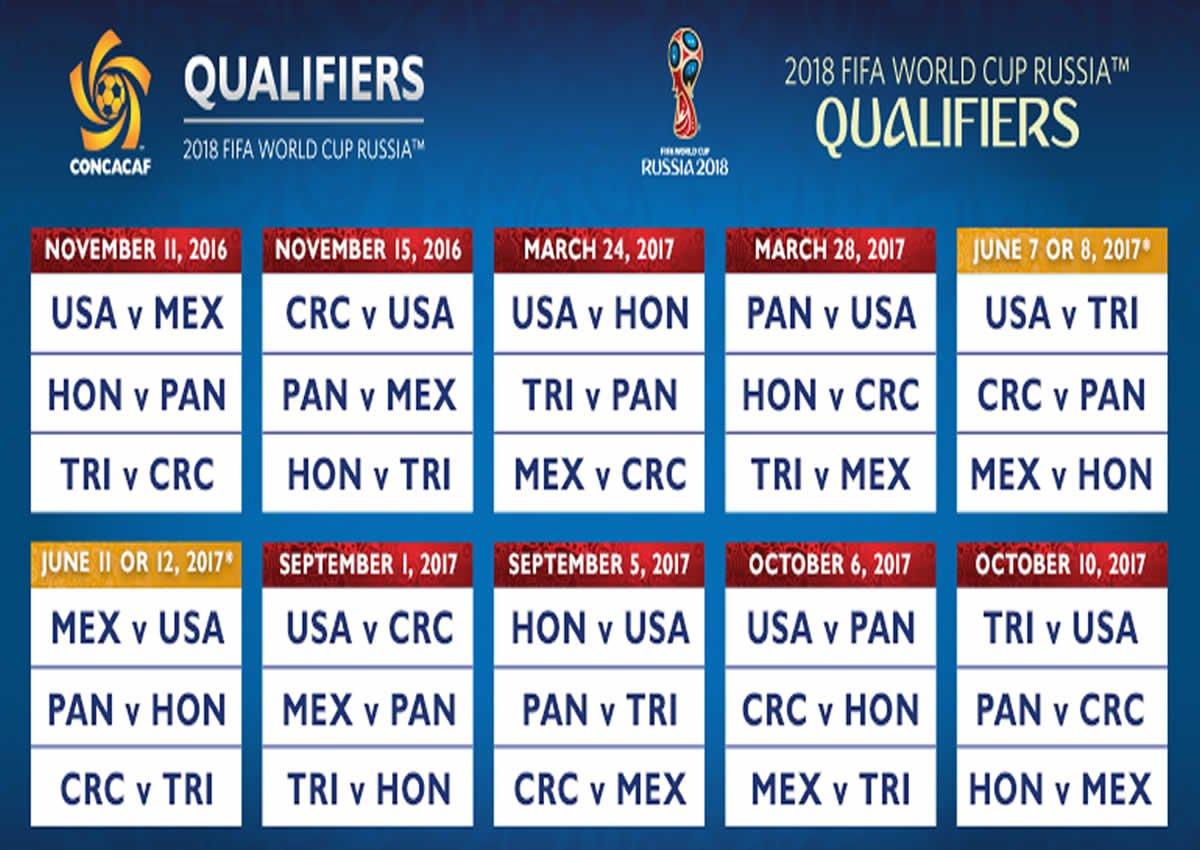 Calendario Rusia 2018 Concacaf