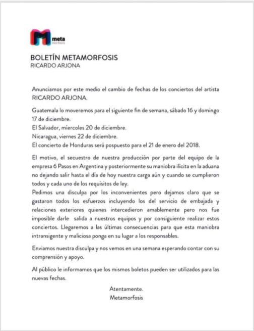 Esperado concierto de Ricardo Argona en Nicaragua se pospondrá para el 22 de diciembre