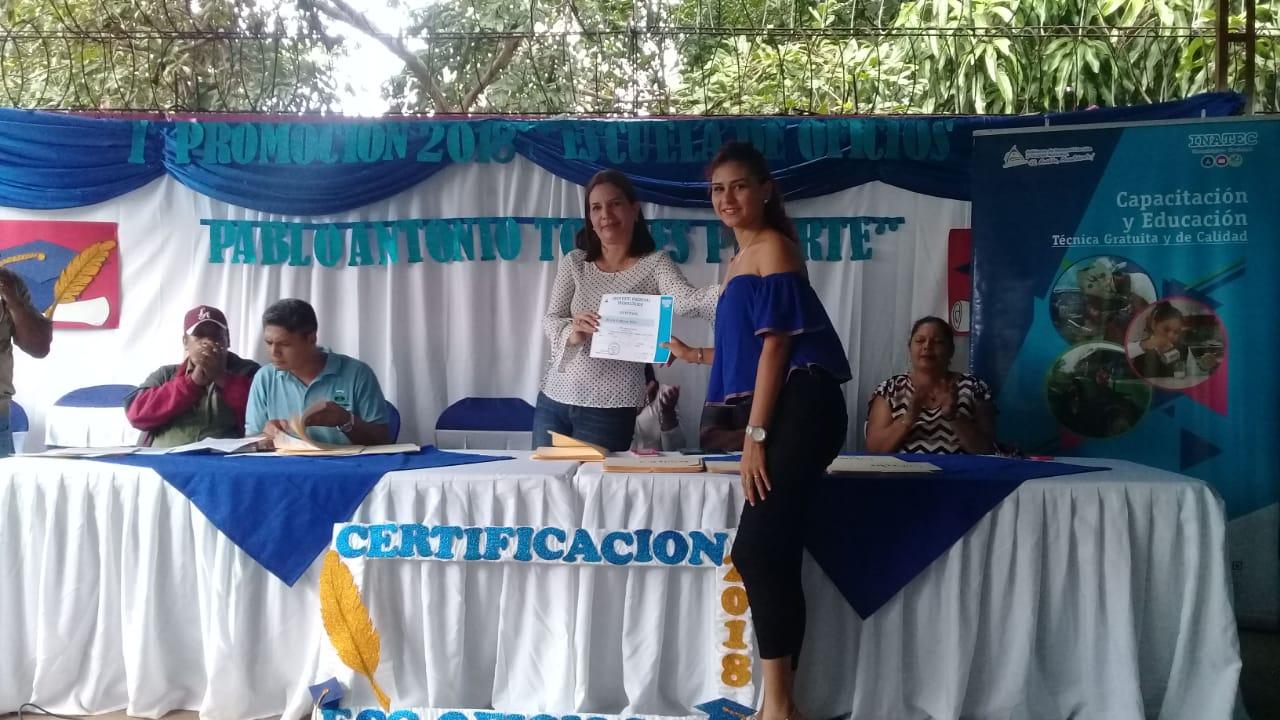 Tecnológico Nacional certifica a protagonistas de Ticuantepe en diversos oficios