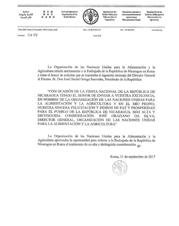 Naciones hermanas envían felicitaciones en ocasión de Independencia Patria de Nicaragua