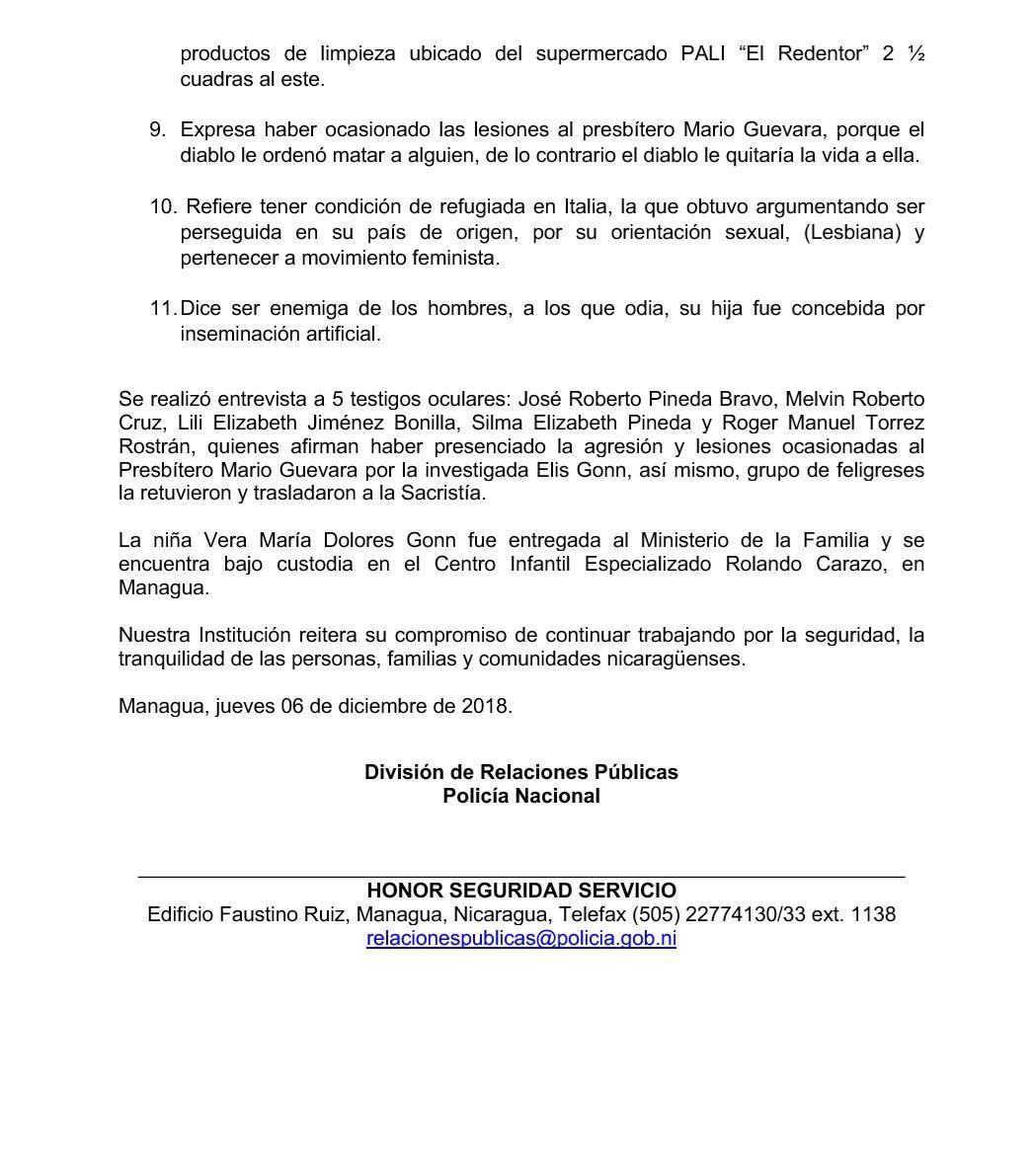 Policía Nacional da a conocer avances del proceso investigativo sobre ataque al Presbítero Mario Guevara