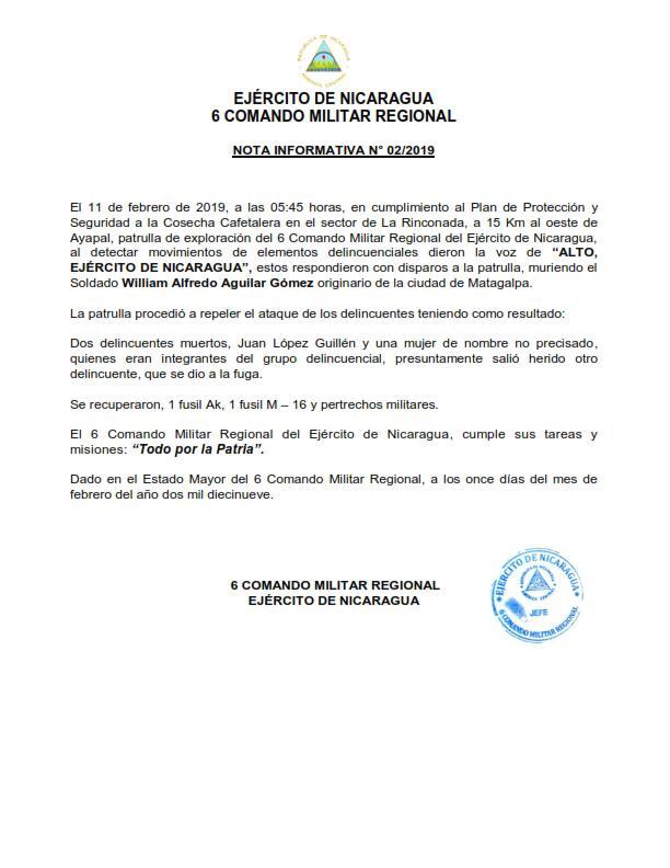 Ejército de Nicaragua emite Nota Informativa