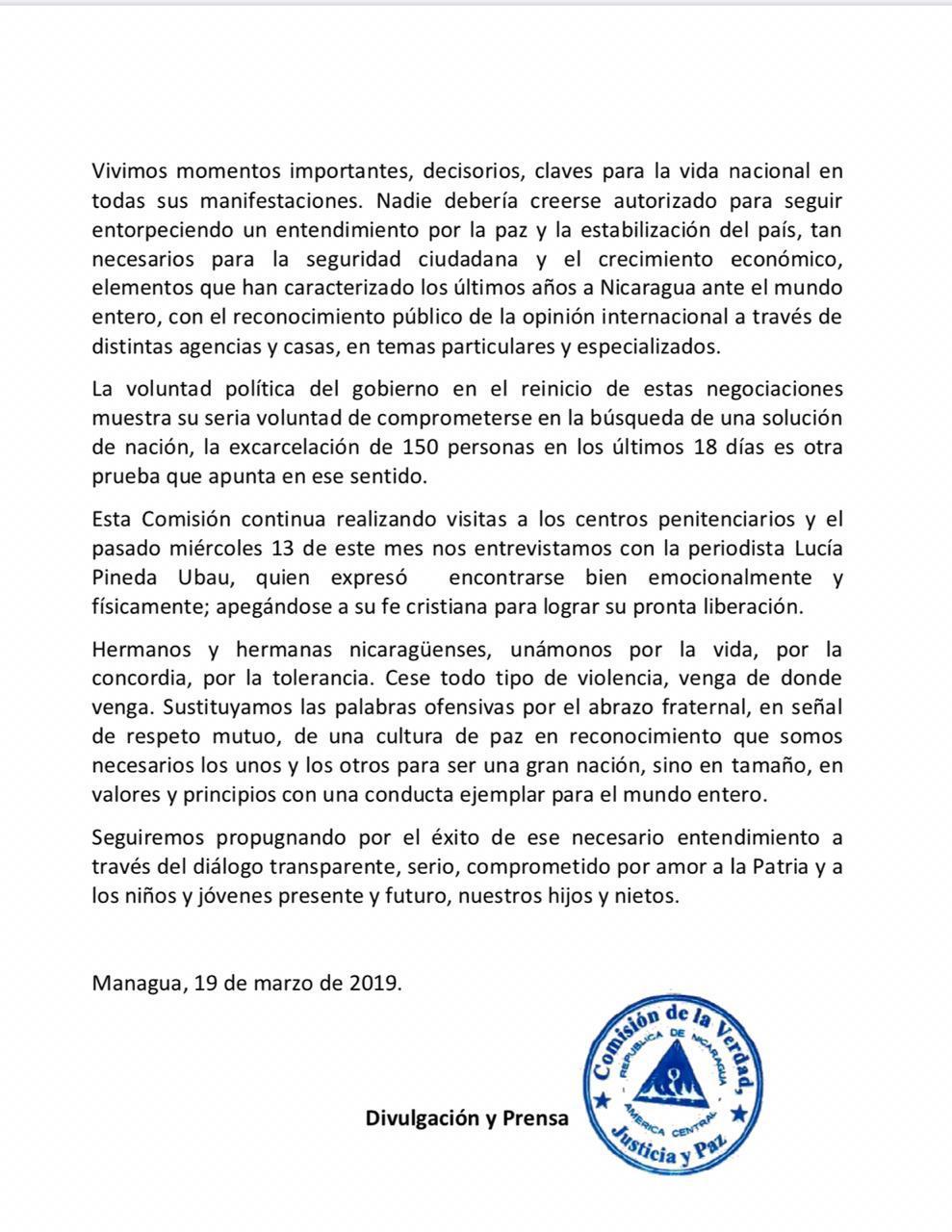 Comisión de la Verdad, Justicia y Paz emite nuevo comunicado