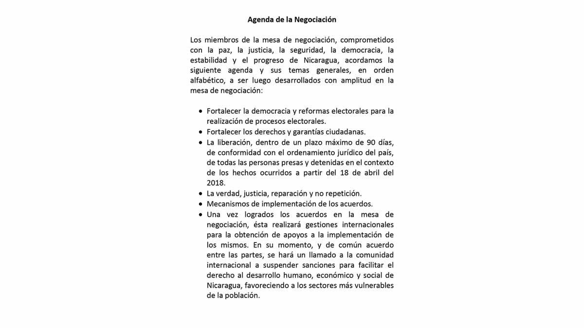 Séptimo comunicado de la Mesa de Negociación por el Entendimiento y la Paz en Nicaragua