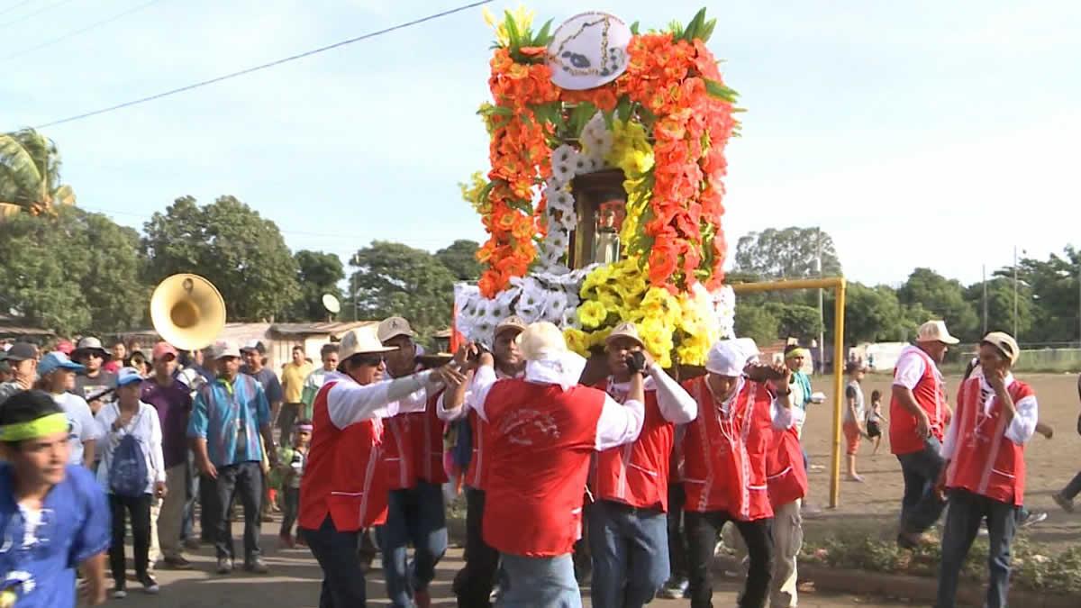 Devotos de Santo Domingo de Abajo realizan procesión en Ciudad Sandino
