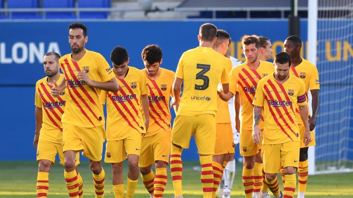El primer equipo del FCBarcelona durante su victoria ante el Nàstic