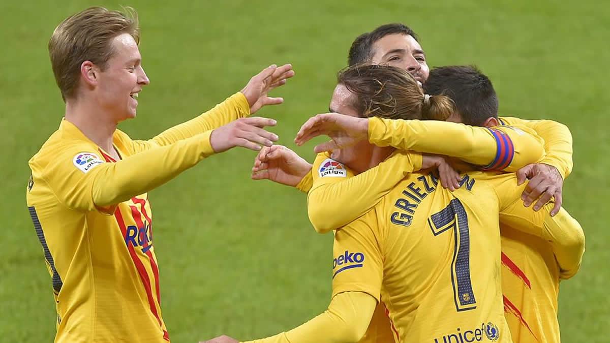 El Barcelona celebra victoria ante el Bilbao.